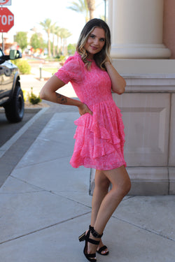 Poly Crinkle Dress - Pink
