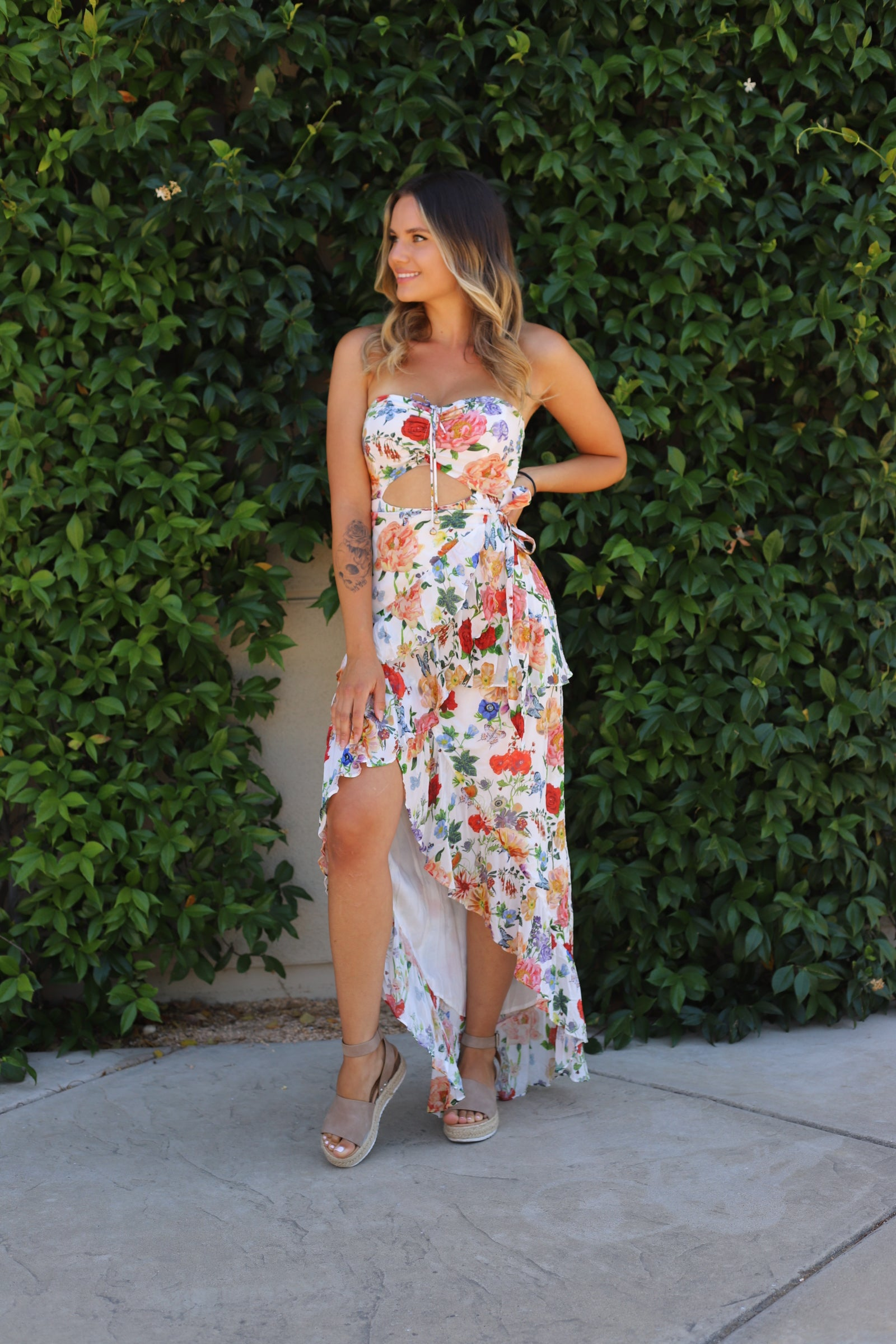 First  Look Floral Tube Maxi Dress
