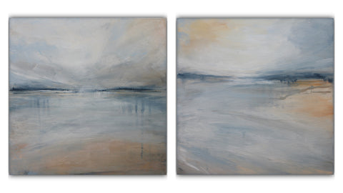 set of two beach paintings