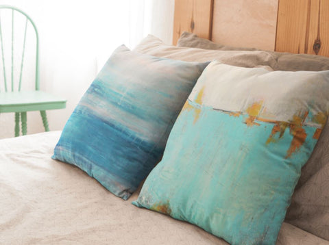 green pillow, teal pillow