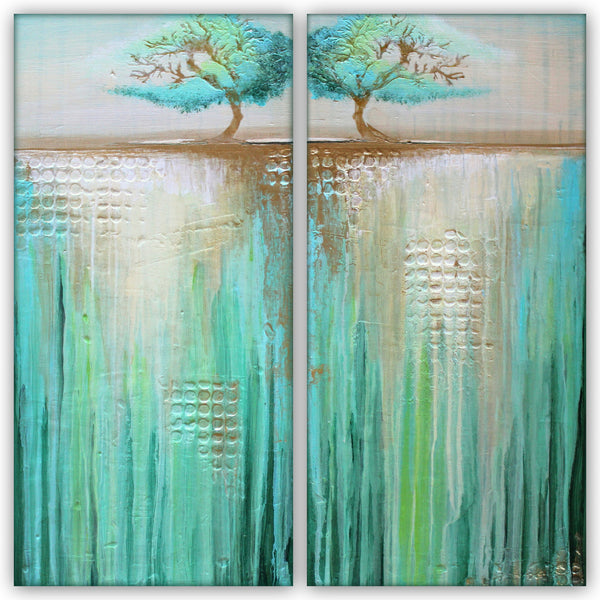 Two Trees in Green Landscape - Acrylic on Canvas - The Modern Home Co. by Liz Moran