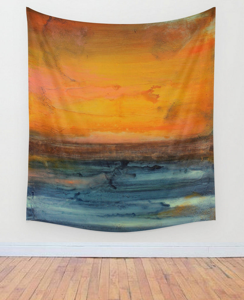 Orange and Blue Wall Tapestry – Large Abstract Wall Decor – Abstract Seascape