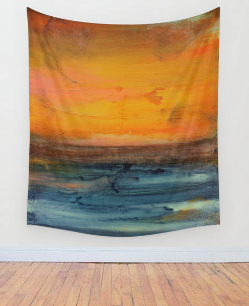 Orange and Blue Wall Tapestry – Large Abstract Wall Decor – Abstract Seascape - The Modern Home Co. by Liz Moran
