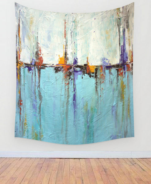 Ocean Wall Tapestry – White and Blue Wall Decor – Abstract Seascape – Nautical Decor - Wall Tapestry - The Modern Home Co. by Liz Moran