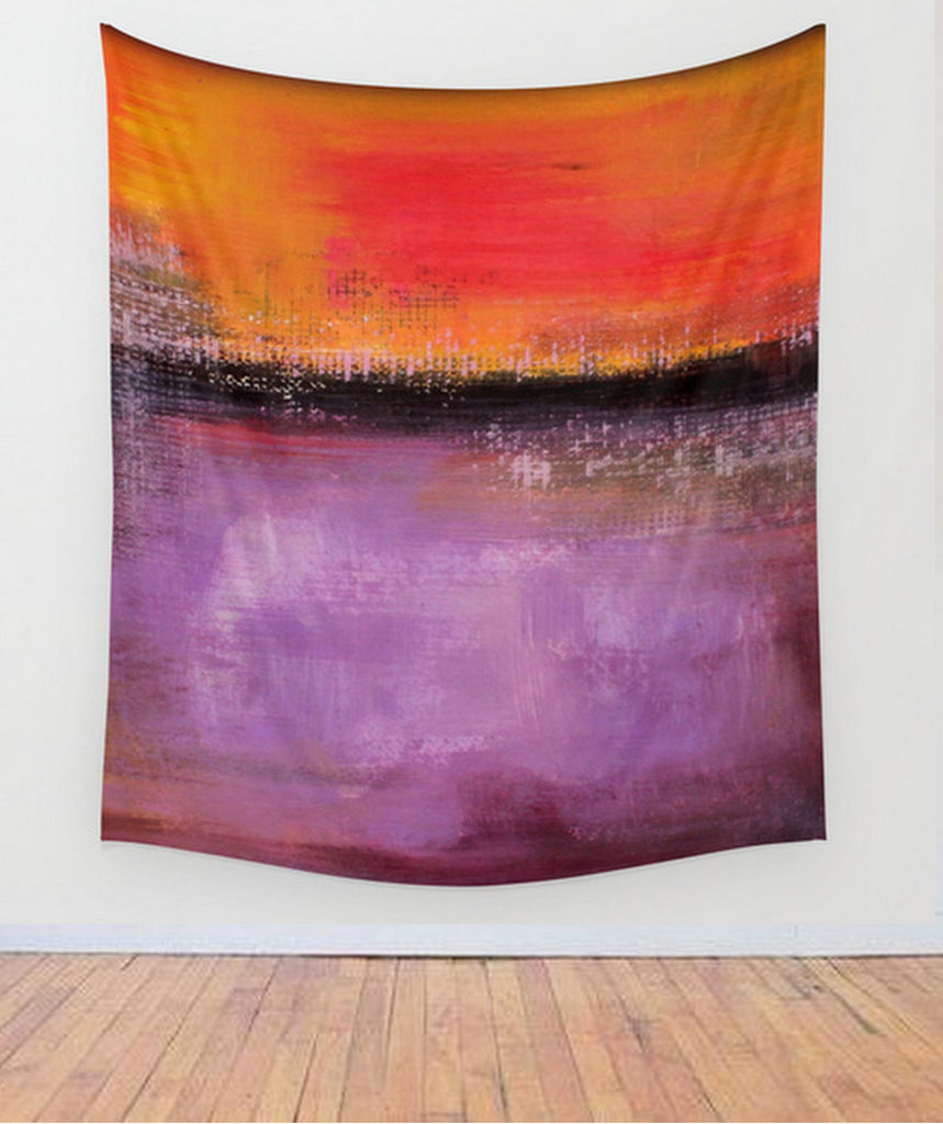 orange and purple wall decor – wall tapestry abstract landscape