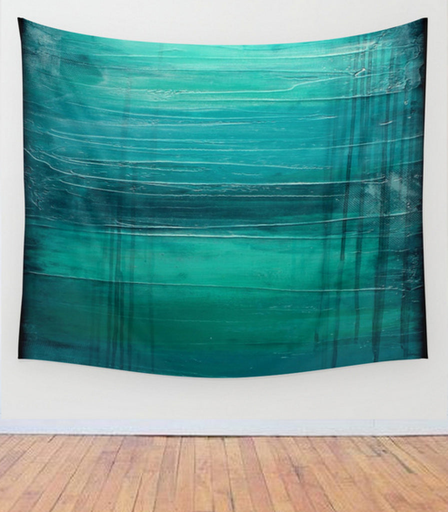 """Lagoon"" – Teal Abstract Art – Wall Tapestry - The Modern Home Co. by Liz Moran"