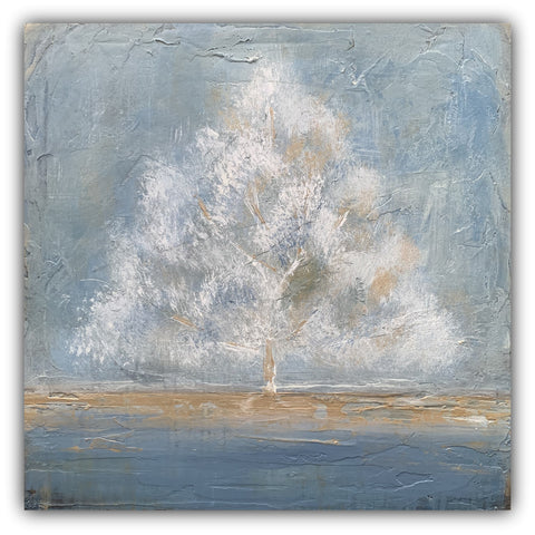 Adore - Abstract Tree Painting in Blue and Gold