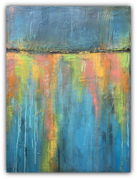Streetlamp Reflections - Extra Large Abstract Canvas Painting