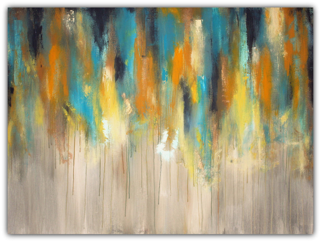 Large Abstract Painting - Blue, Yellow and Grey Wall Art – The ...