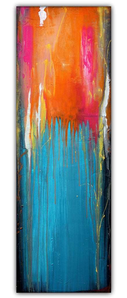 Endless Summer - Blue and Orange Abstract Painting - Acrylic on Canvas