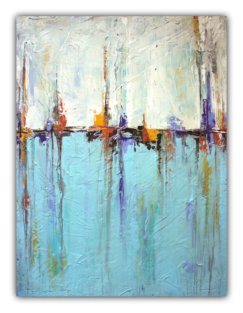 Sailing - Abstract White and Blue Painting – Textured Art