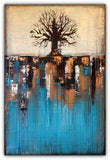 Abstract Tree in Teal Landscape – SOLD
