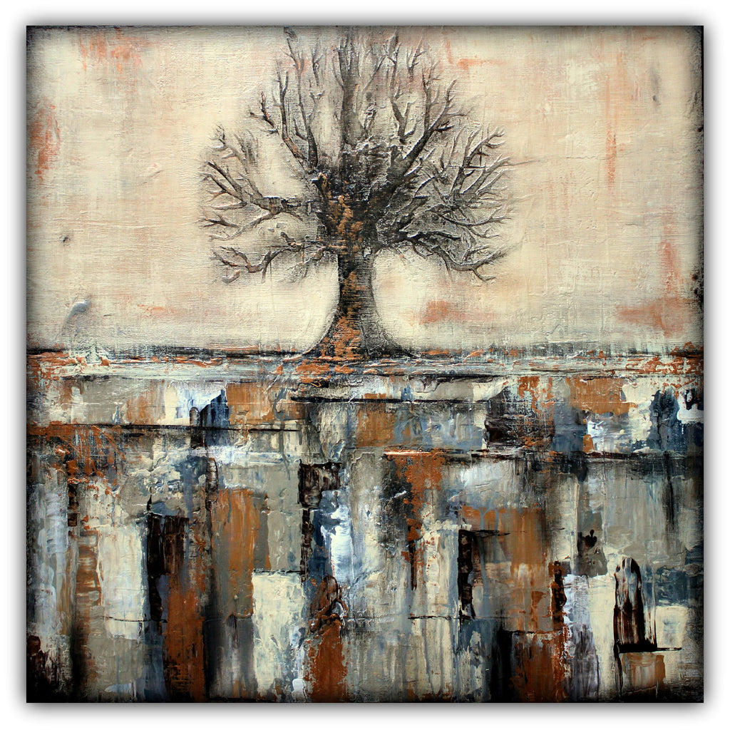 Tree in Brown and Gold Landscape - SOLD - The Modern Home Co. by Liz Moran