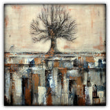 Tree in Brown and Gold Landscape - Texture Art - Acrylics on Canvas
