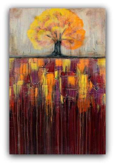 Sold - Tree In Autumn Landscape - Textured Painting - Large Wall Art - Abstract Landscape Painting