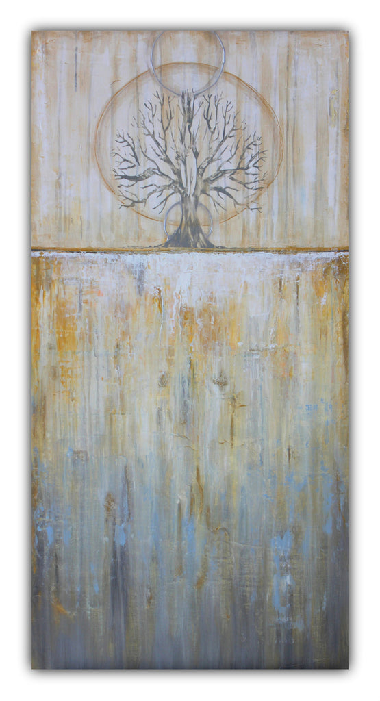 Solstice - Gold and Grey Textured Painting - Abstract Tree Landscape