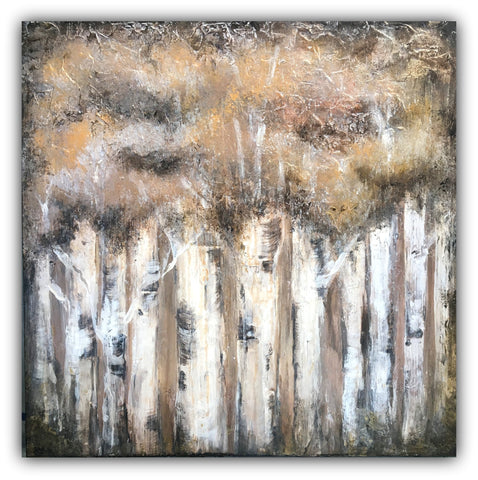 Birch Forest - Textured Canvas Painting