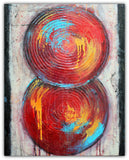Balanced – Textured Red Circles – Acrylic on Canvas Painting