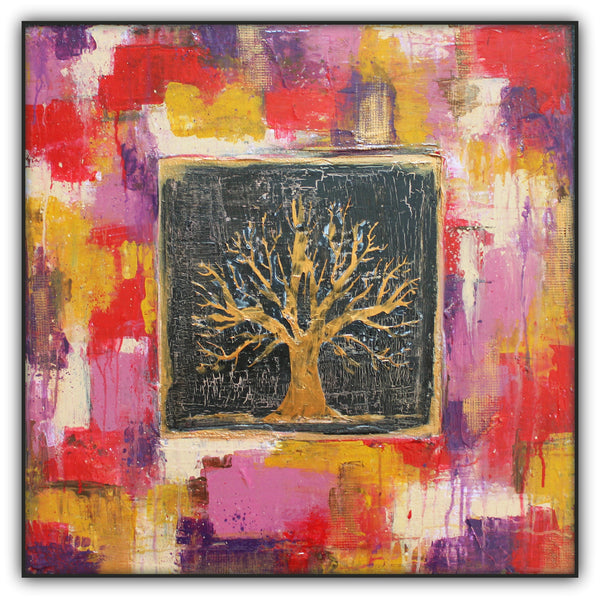 Autumn Window - Bronze Tree Painting - Abstract Art