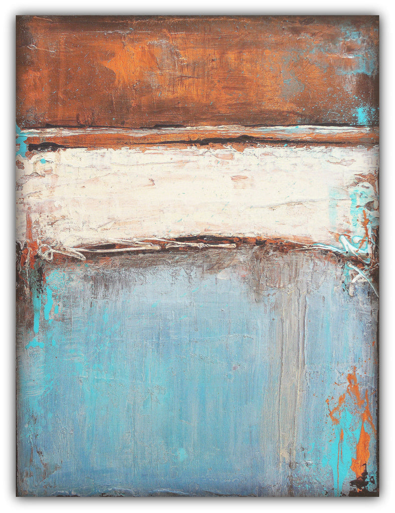 Copper and Blue Painting - Textured Abstract Canvas