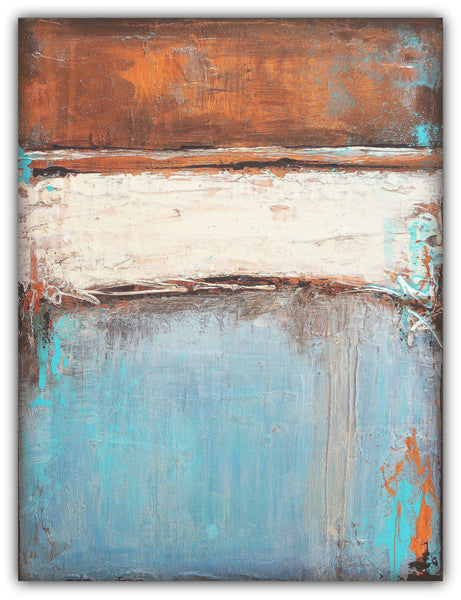 Copper and Blue Painting - Textured Abstract Canvas - The Modern Home Co. by Liz Moran