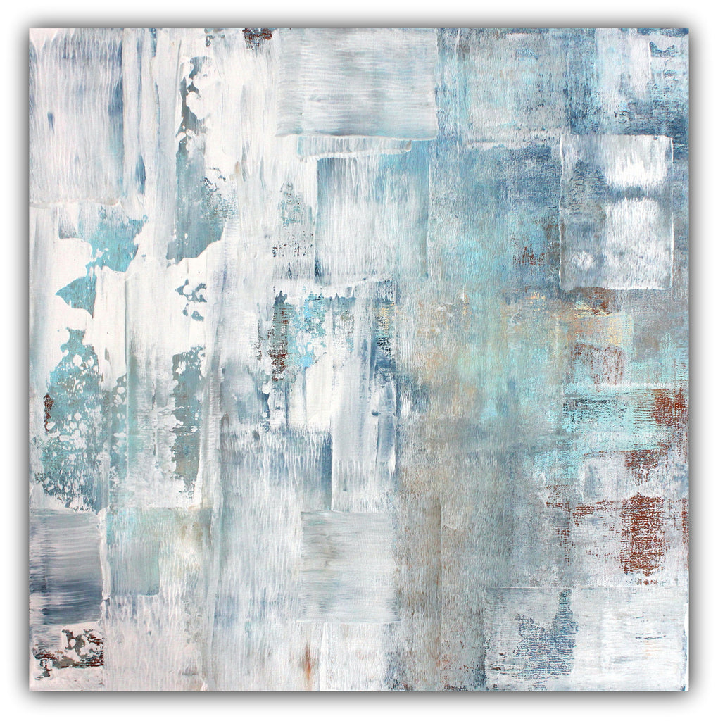 Frost - Blue and White Abstract Canvas Painting