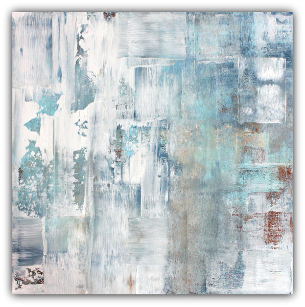 Frost - Blue and White Abstract Canvas Painting - The Modern Home Co. by Liz Moran