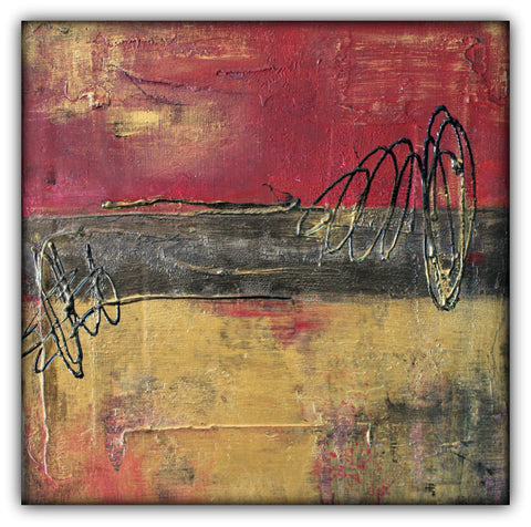 Metallic Square Series I - Red and Gold Urban Abstract Painting