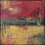 Metallic Square Series I - Red and Gold Urban Abstract Painting - The Modern Home Co. by Liz Moran