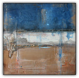 Metallic Square Series II - Blue and Copper Abstract Art - The Modern Home Co. by Liz Moran