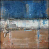 Metallic Square Series II - Blue and Copper Abstract Art