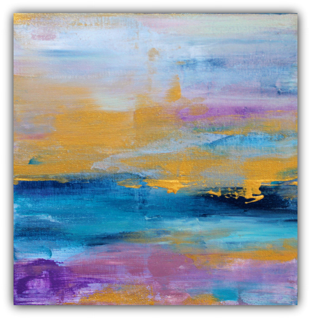 Gold, Navy and Plum Abstract Canvas Painting