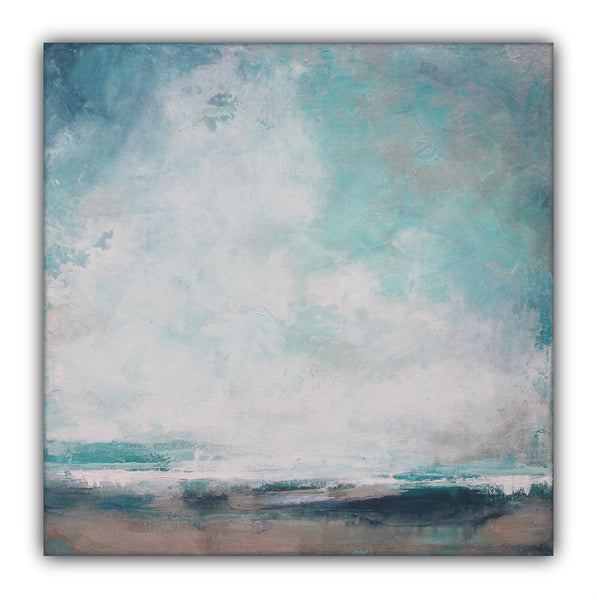"Teal Landscape Painting ""Surf Side"" - The Modern Home Co. by Liz Moran"