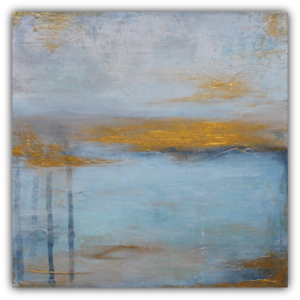 Echos - Gold and Blue Abstract Painting on Canvas - The Modern Home Co. by Liz Moran