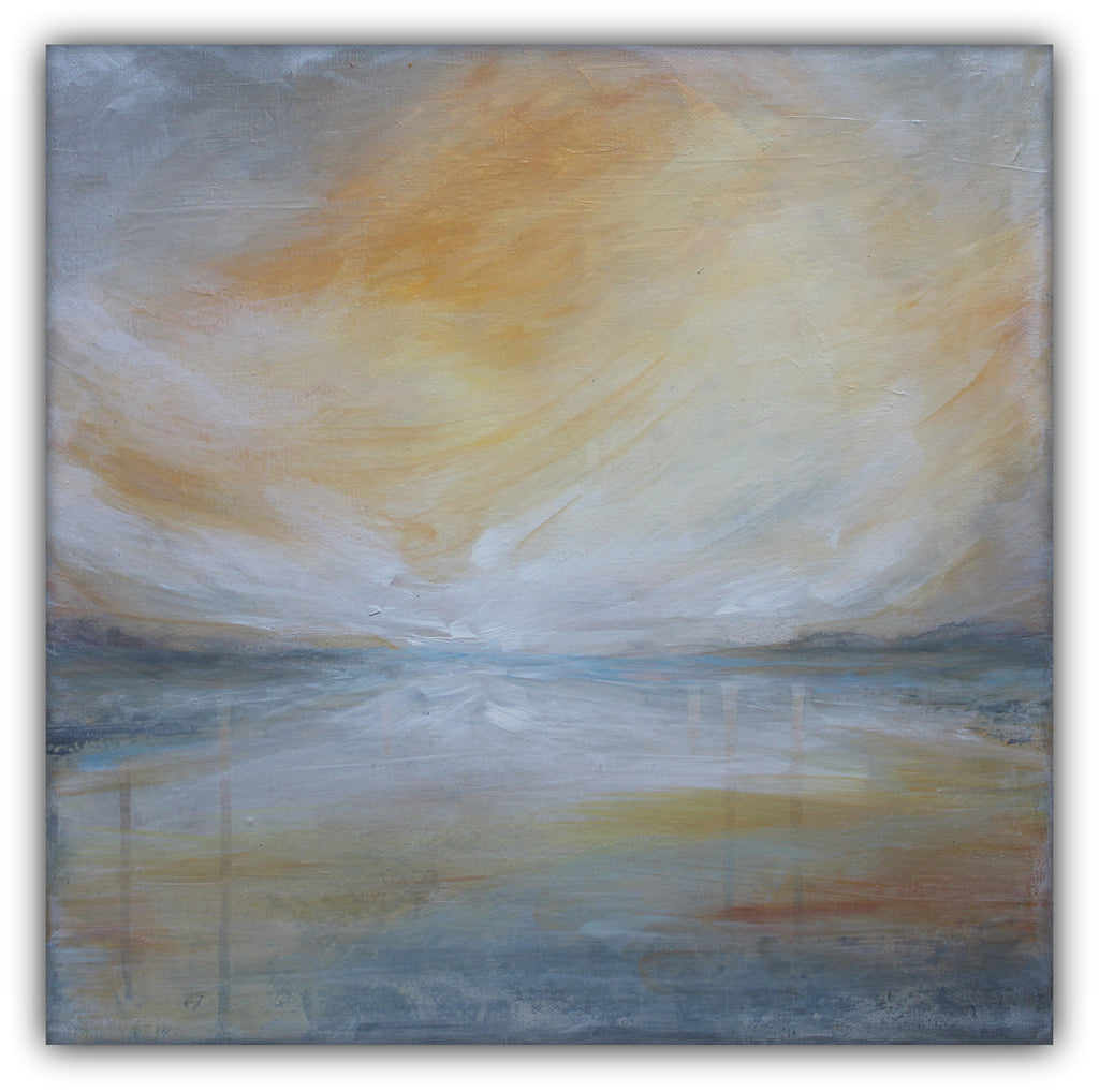 "Yellow and Grey Landscape Painting ""Landscape II"" - The Modern Home Co. by Liz Moran"