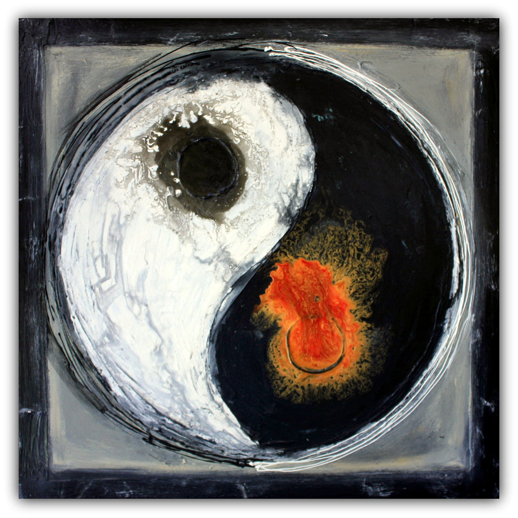 Yin Yang - Asian Inspired Painting - Textured Abstract Painting - Acrylic on Canvas - The Modern Home Co. by Liz Moran
