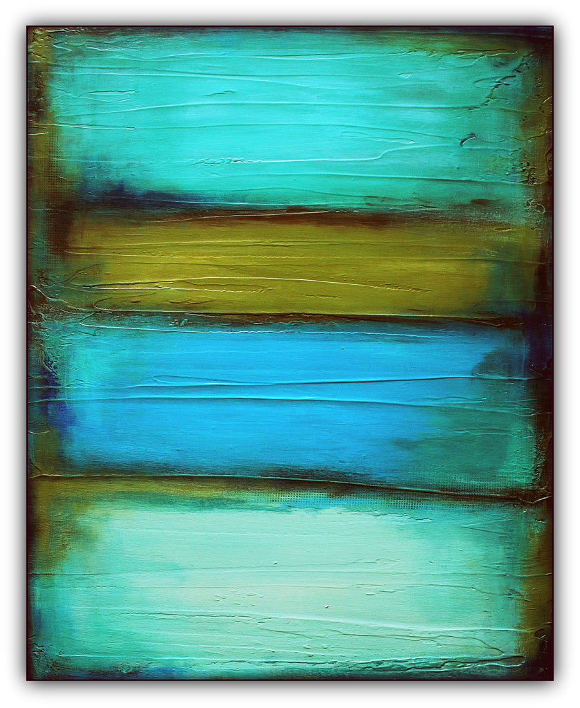 Fade - Olive Green and Teal Painting - Retro Wall Decor