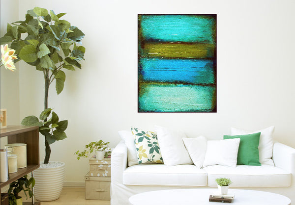 Fade Olive Green And Teal Painting Retro Wall Decor