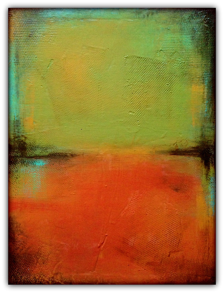 "Green and Orange Acrylic Painting - 18x24"" Canvas Art - Textured Abstract Art"