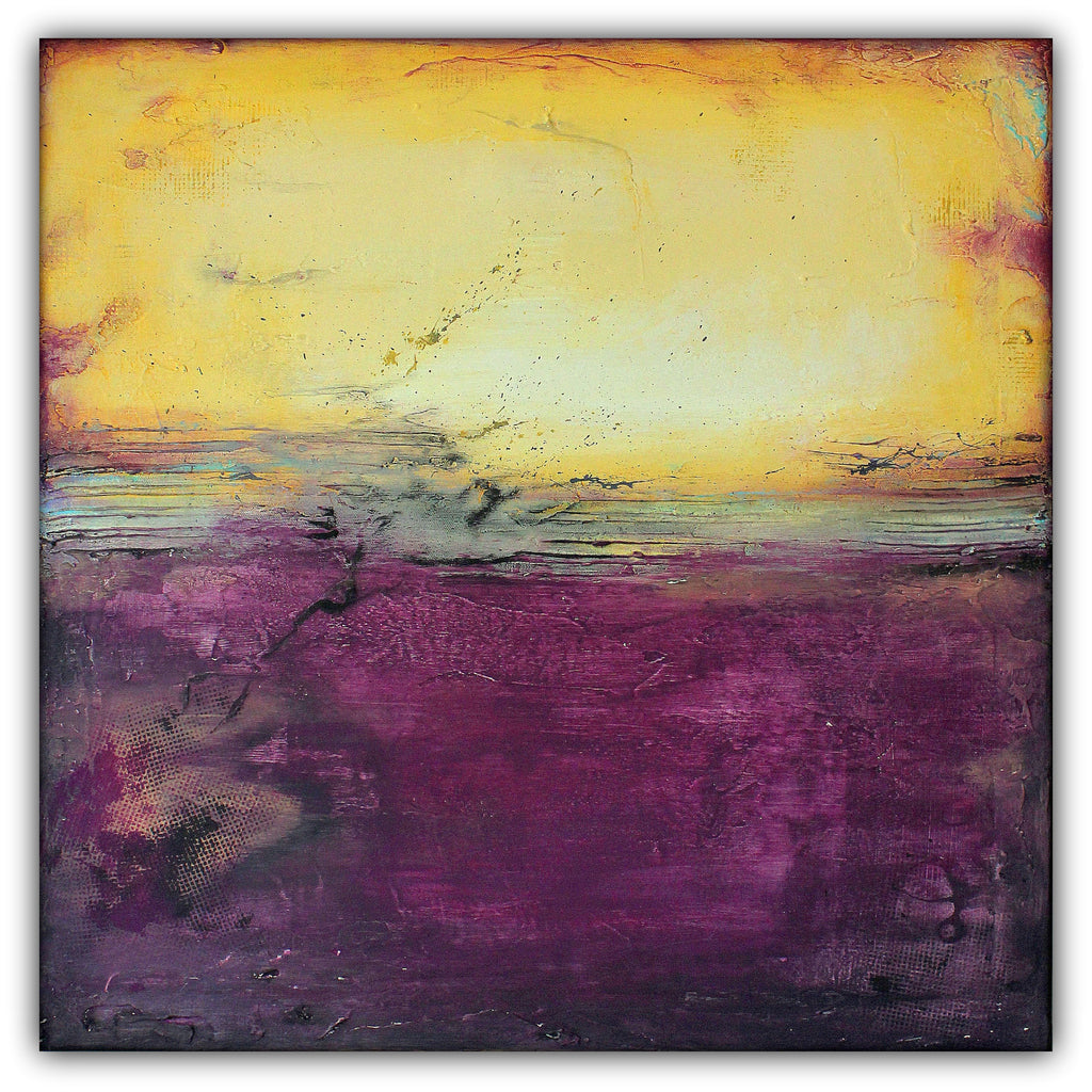 Purple and Gold Abstract Art – Majestic Wall Art – Modern Square Painting