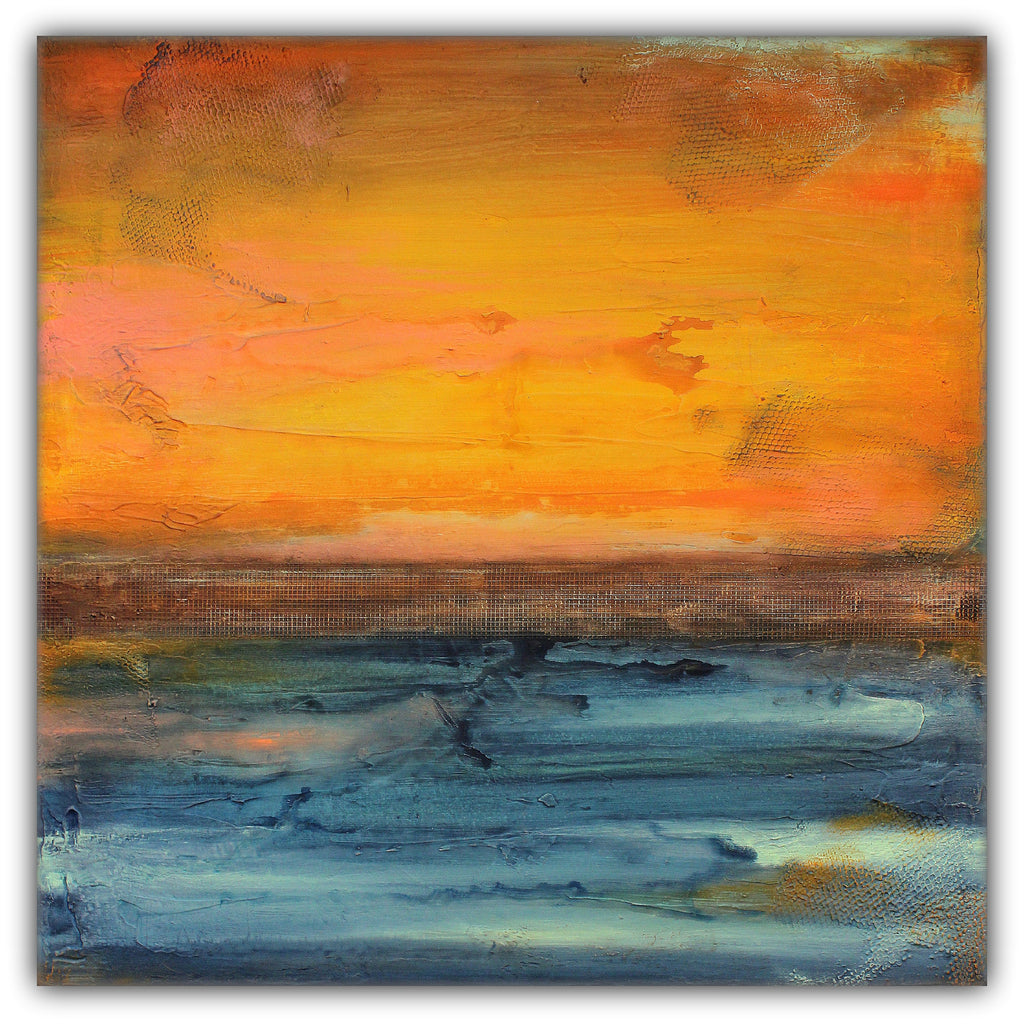 Orange and Blue Textured Painting – SOLD - The Modern Home Co. by Liz Moran