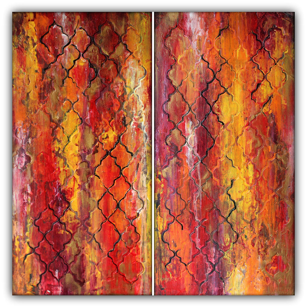 Morocco - Moroccan Pattern – Textured Painting – Set of Two - The Modern Home Co. by Liz Moran