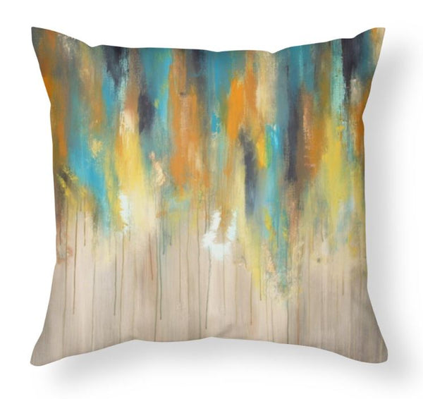 Rainy Day - Blue, Yellow and Grey Large Pillow - The Modern Home Co. by Liz Moran
