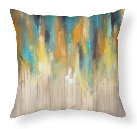 Rainy Day - Blue, Yellow and Grey Large Pillow