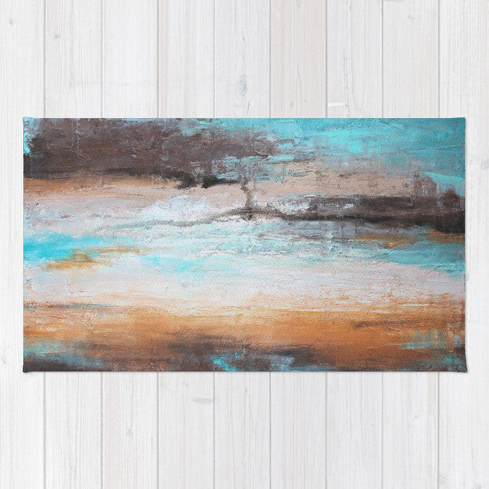 Sea Breeze - Mint and Brown Area Rug - The Modern Home Co. by Liz Moran