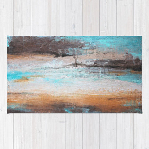 Sea Breeze - Mint and Brown Area Rug
