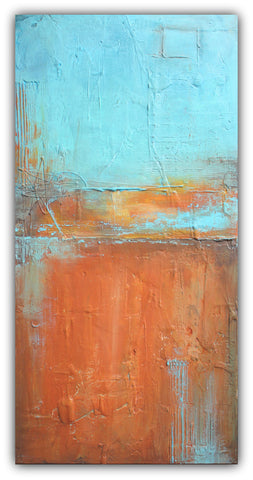 Uncovered Orange - Orange and Blue Texture Art