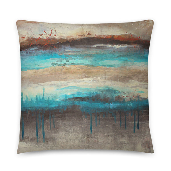 Canyon America - Brown and Teal Square Pillow