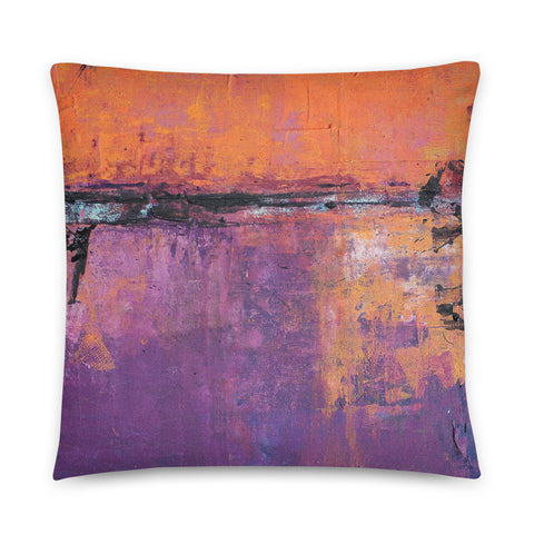 Poetic City - Orange and Purple Throw Pillow