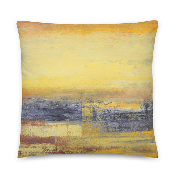 Yellow and Grey Throw Pillow